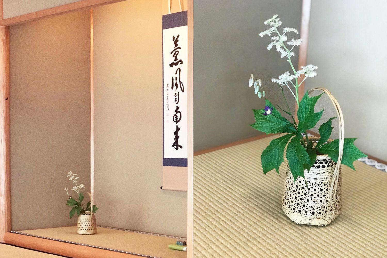 和室の掛け軸、生け花